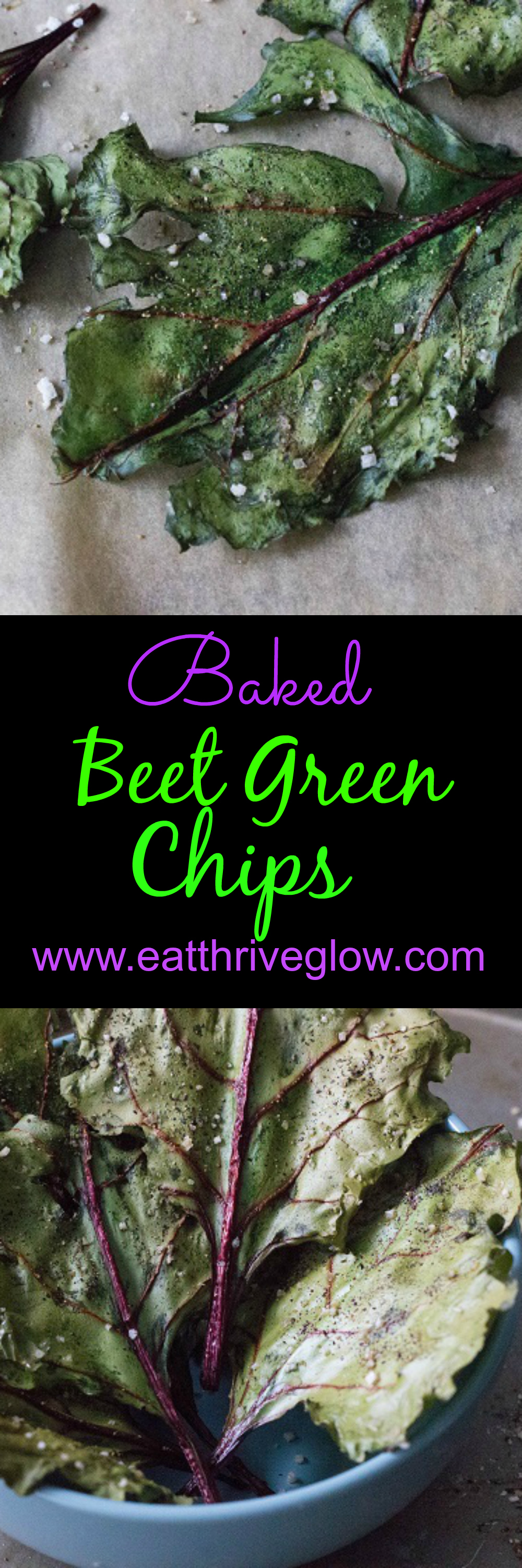 Baked Beet Green Chips - Eat Thrive Glow