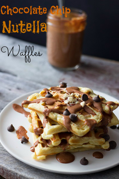 Chocolate Chip Nutella Waffles - Eat Thrive Glow