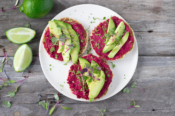 Open-Faced Roasted Beet Hummus Sandwich - Eat Thrive Glow