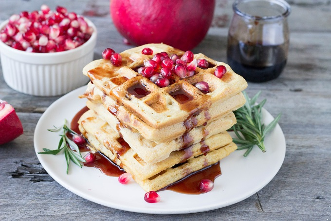 Red Lentil Waffles with Rosemary Pomegranate Syrup - Eat Thrive Glow