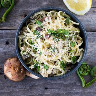 Lemony Fiddlehead Mushroom Linguine - Eat Thrive Glow